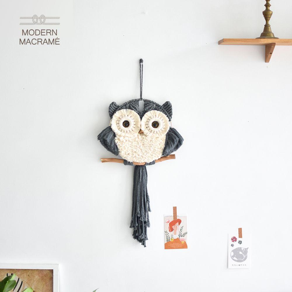 벽걸이 월행잉 부엉이 만들기 키트 마크라메재료