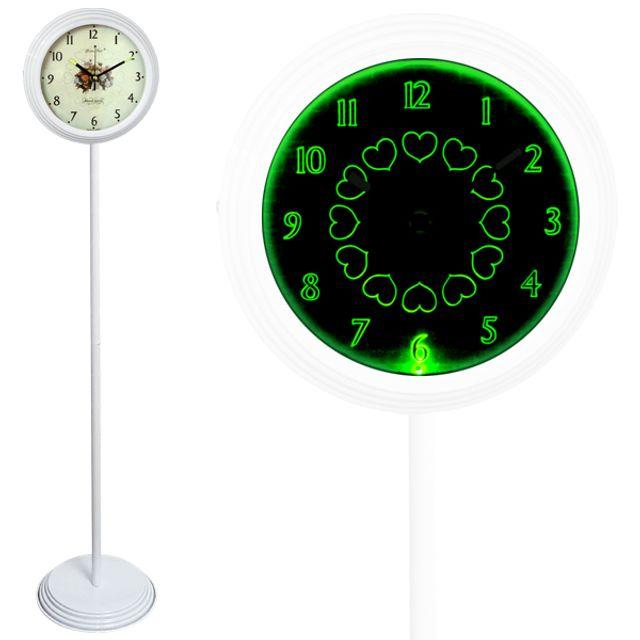GB6705 무소음 LED 그린 스탠드시계 화이트 장미