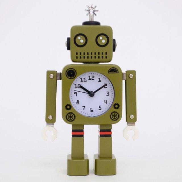 (정품) New 감성 로봇 저소음 알람 시계(카키)