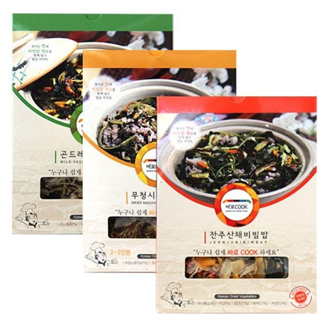 바로COOK 누구나 쉽게 만들어먹는 건나물밥 family 3종세트(각3팩씩)