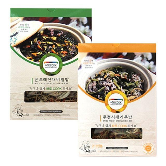 바로COOK 누구나 쉽게 만들어먹는 건나물밥 2종 1호 (곤드레산채비빔밥 25g 3팩 무청시래기무밥 30g 3팩)