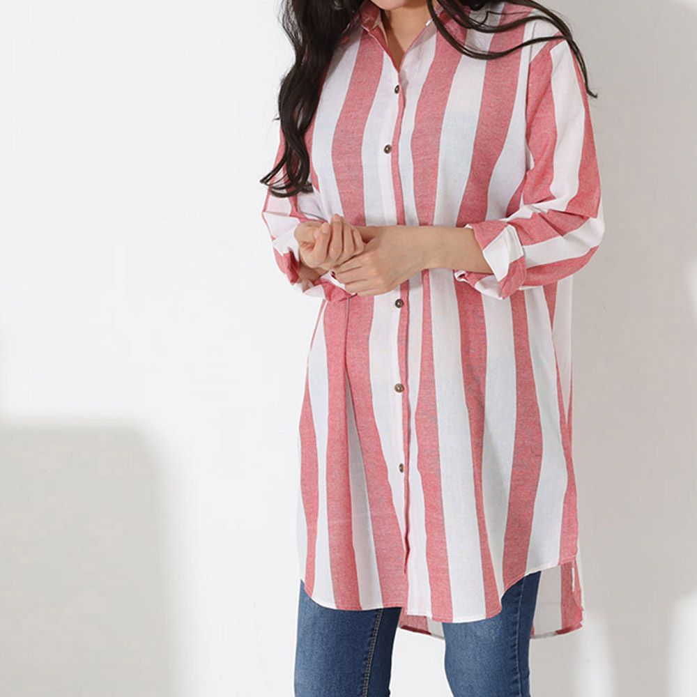 여성 데일리 패션 언발란스 스트라이츠 오버핏 셔츠