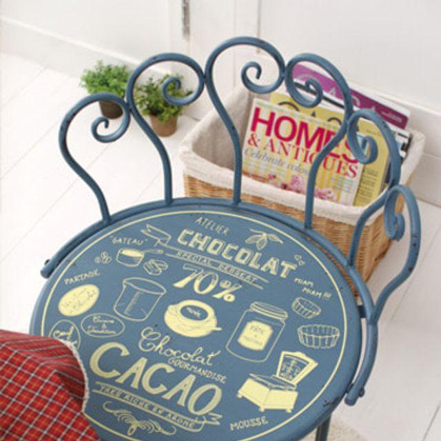 비스트로 의자 블루 빈티지 소품 보조체어 티테이블