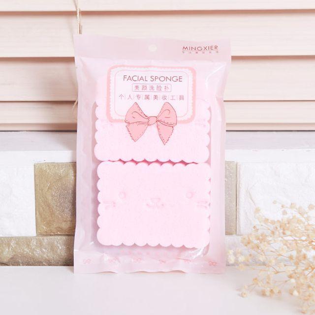 해면스펀지 2p 핑크 클렌징 목욕용품 세안스펀지